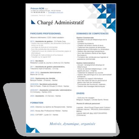 Exemple Modèle CV Word Chargé Administratif
