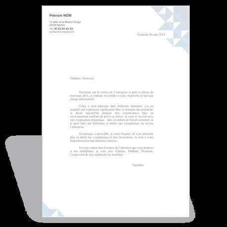 Exemple de modèle de lettre de motivation format Word