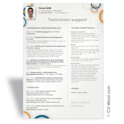 Modèle CV Word Technicien support