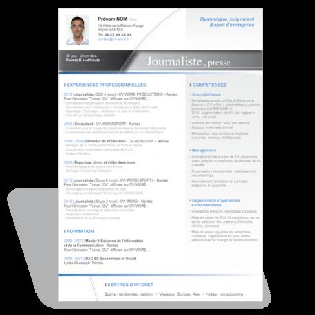 Modèle CV Word Journaliste