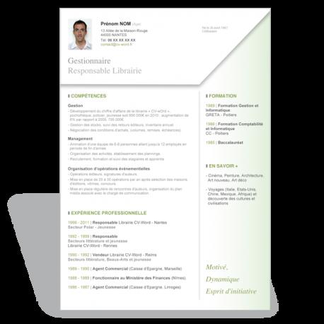 Télécharger le modèle CV Word original Gestionnaire / Commerce