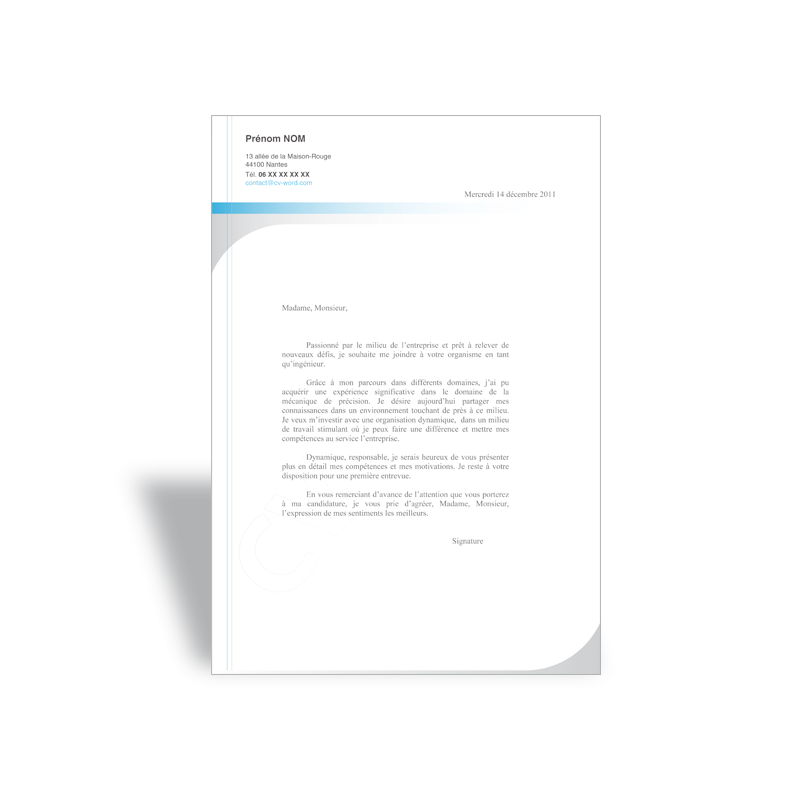 sample cover letter  exemple lettre de motivation