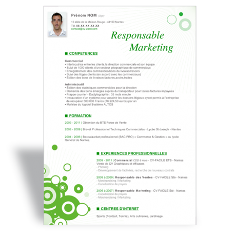 Modèle CV Word Responsable Marketing