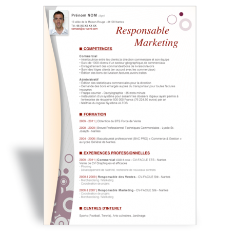 Modèle CV Word Responsable Marketing II