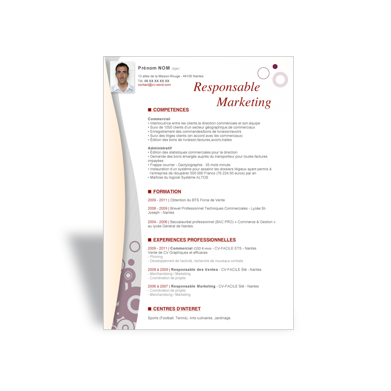 t u00e9l u00e9charger mod u00e8le cv word responsable marketing  emploi