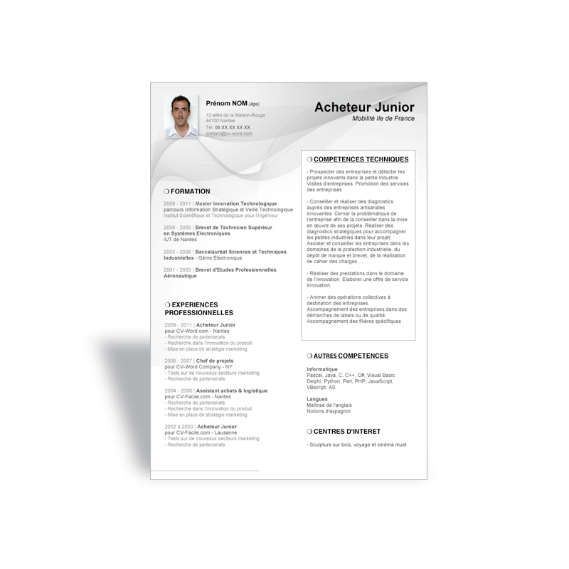 mod u00e8le cv word acheteur junior  exemple curriculum vitae