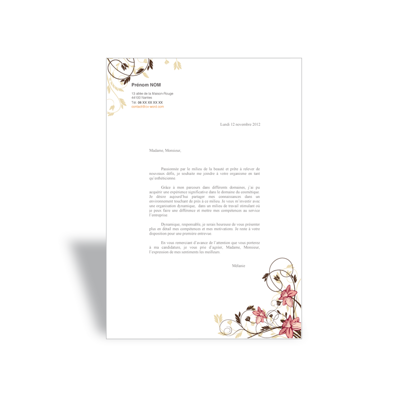 lettre de motivation type format word open office  u00e0