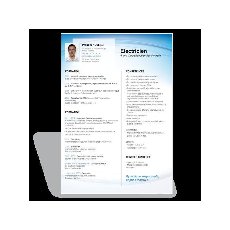 resume format  modele cv electricien