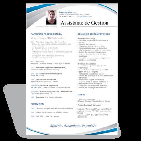 Modèle CV Word Assistante de Gestion