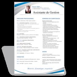 Modèle CV Word Assistante de Gestion bleu