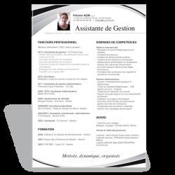 Modèle CV Word Assistante de Gestion noir