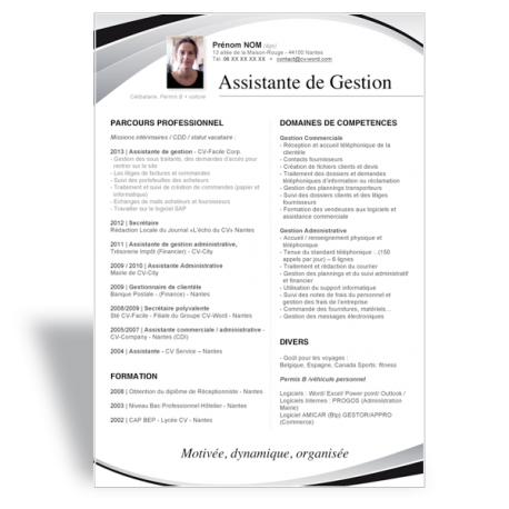 exemple cv assistant de gestion