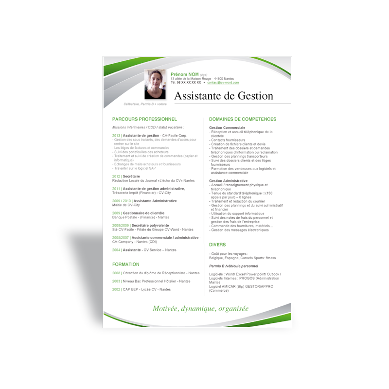 mod u00e8le cv word assistante de gestion vert