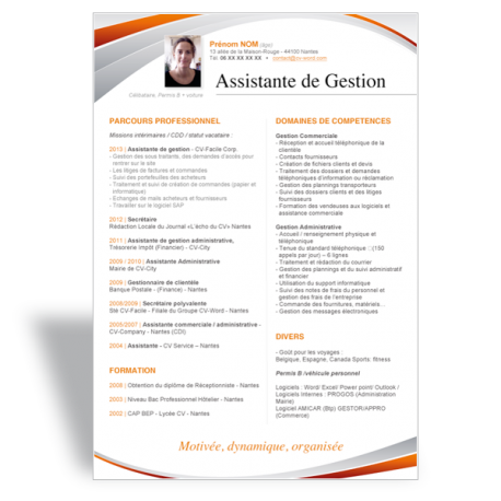Modèle CV Word Assistante de Gestion orange