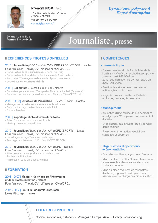 Modèle Cv Word Journaliste Lettre De Motivation