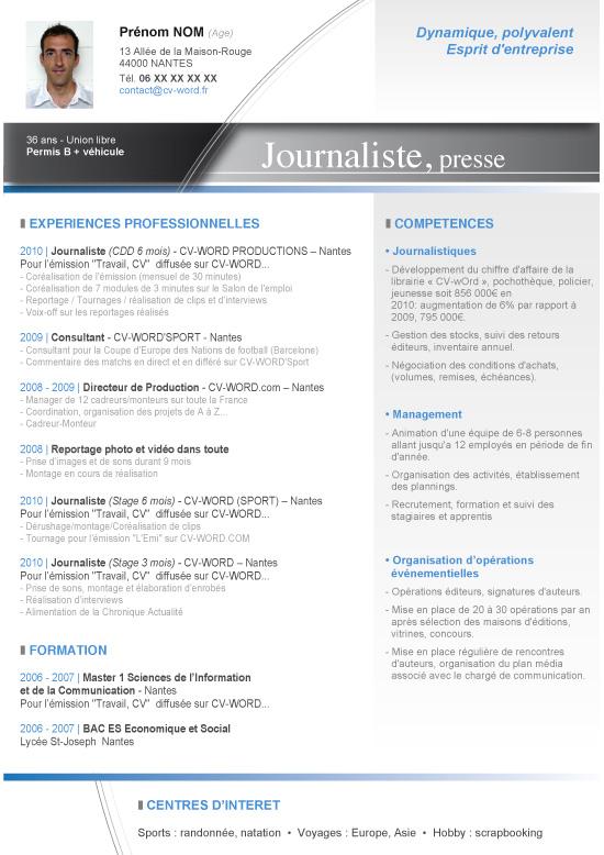 Modèle Cv Word Journaliste Lettre De Motivation