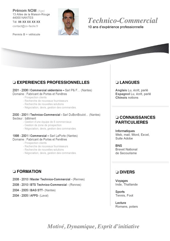 modele cv et lettre de motivation